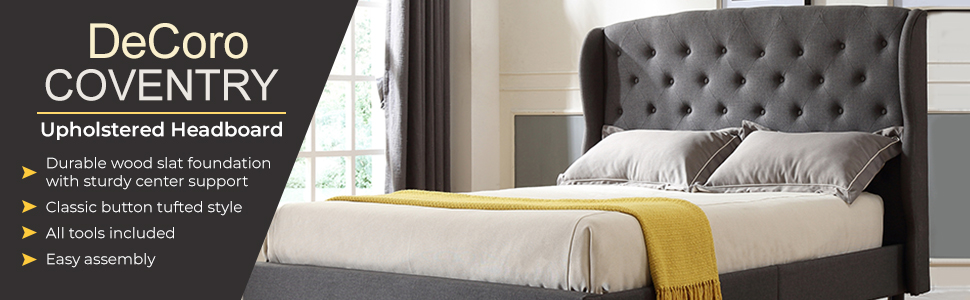 Decoro, Upholstered, Bed, Frame, Headboard, Platform, Bed