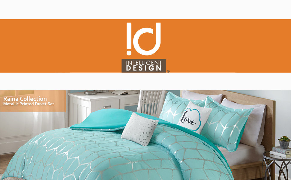 Intelligent Design Raina Metallic Printed Duvet Cover Set Aqua//Silver