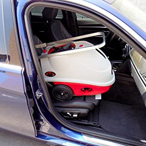 Lobster elite tennis ball machine in BMW car seat