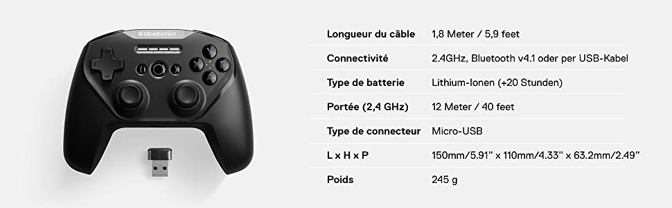 SteelSeries Stratus Duo, Manette de jeu sans fil, Android, Windows, Oculus Go, Samsung Gear VR