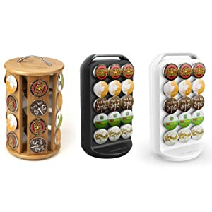 bamboo, carousel, organizer, holder, rack, single, break, room, kcups, storage, self, lock, spins