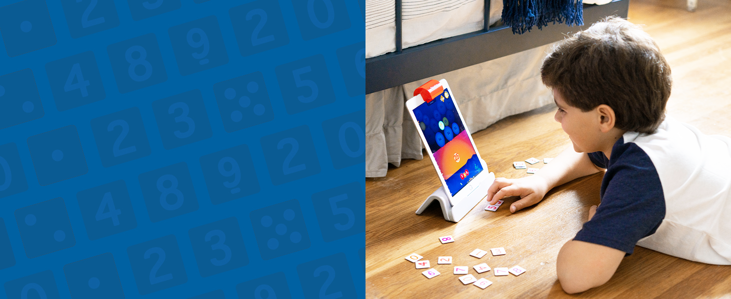 Solve puzzles and problems with Osmo and genius starter kit on the iPad Plus version
