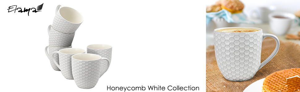 white pearl ivory embossed coffee tea cocoa mug cup set setting for six 6 microwave dishwasher safe