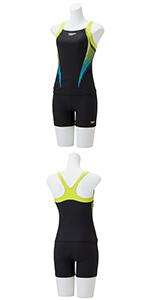 Speedo(スピード) フィットネス水着 レディース セパレーツ 2.5分丈 パーシャルプリント スナップ付き SFW21909