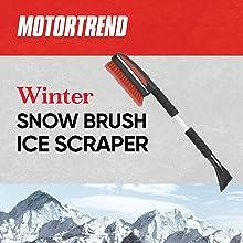 ice scraper winter snow brush ergonomic soft handle grip scratch less soft bristle head