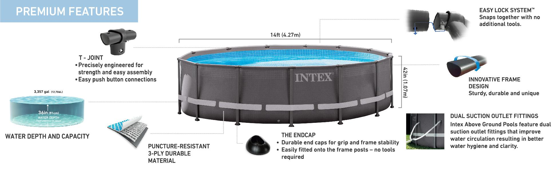 Intex 14ft x 42in ultra frame pool set with for Koi intex pool