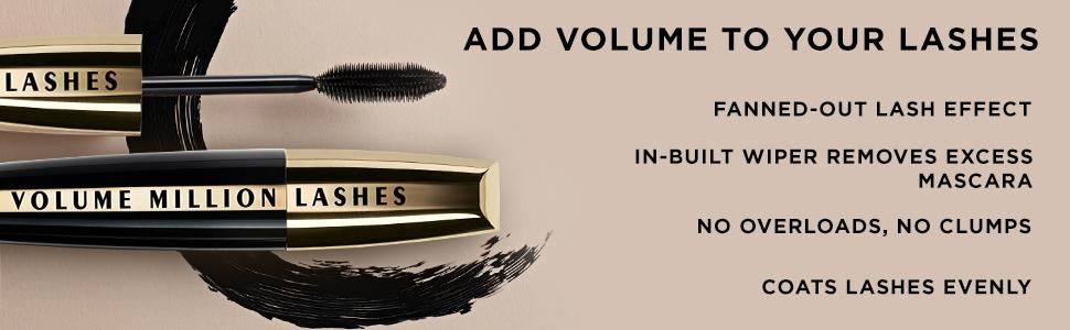 L'Oreal Paris Volume Million Lashes Mascara, Washable, black