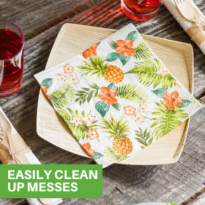 These luncheon napkins papers have a 3-ply design to easily clean up any mess.