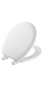 ELONGATED MAYFAIR Open Front Toilet Seat will Never Loosen and Easily Remove Durable Enameled Wood White 1440EC