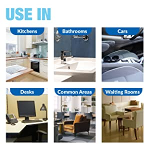 hand sanitizer, hand, sanitizer, kitchens, bathrooms, cars, desks, common areas, waiting rooms