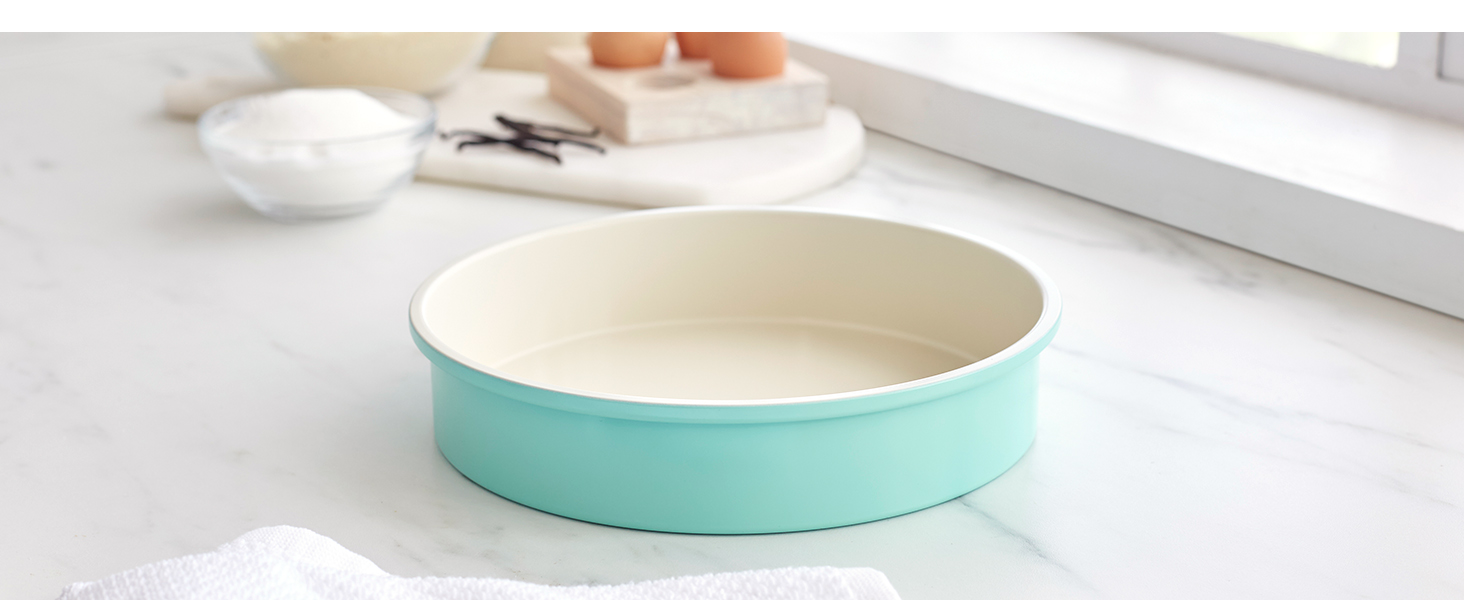 GreenLife heavy-duty steel, nonstick bakeware, easy, tough, PFAS, easy to clean, round cake pan