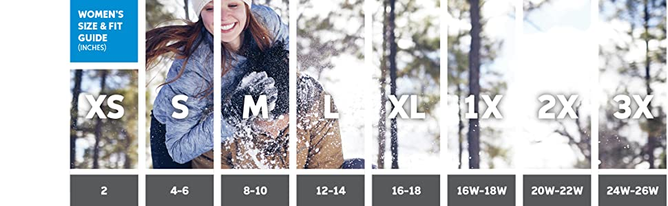 Women's winter coat sizing