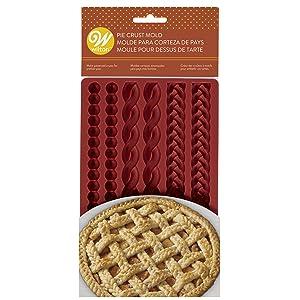 silicone pie crust mold, braided pie crust mold, fall pie crust mold