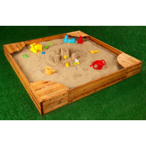Amazon.com: KidKraft Wooden Backyard Sandbox with Built-in ...