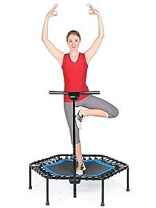 SportPlus Fitness Cama elástica, con Sistema de Cuerda de Puenting, 110 cm de diámetro, hasta 130 kg de Peso del Usuario