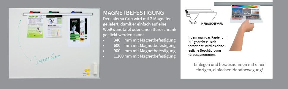 silber//grau inklusiv Magnet Befestigung Jalema 1605333 Grip 340 mm
