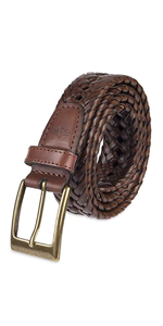 woven braided leather belt buckle brown black tan