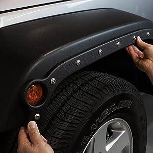 RBP 791483 Textured Black 4 Piece Complete No Drilling Body Armor Fender Trim Set with RBP Logo Bolts for Jeep Wrangler JK Unlimited 4 Door