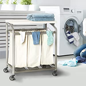 sevilleclassics rolling mobile laundry dirty clothes garmet hamper sorter cart trolley ironing board