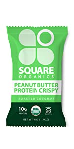 square organics crisp, crisp protein bar, granola bar, breakfast bar, cereal bar, protein breakfast