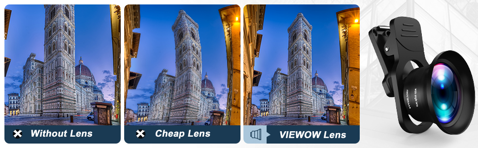 VIEWOW Pro Lens Kit for iPhone, Samsung, Pixel, Macro and Wide Angle Lens with LED Light