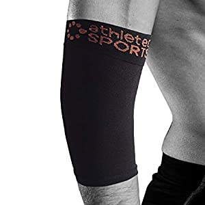Copper Elbow Sleeve Compression Support workouts, Weightlifting, Tendonitis, Golfers Tennis