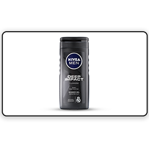 A bottle of Nivea Deep Impact Shower Gel