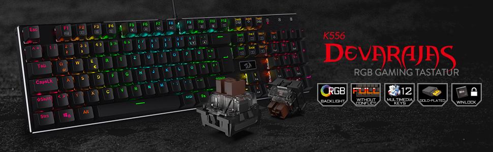 Redragon Teclado mecánico para Juegos 丨 Teclado QWERTZ, táctil y de Clic 丨 Luz RGB de 18 Modos, Completamente programable, ergonómico, Resistente al ...