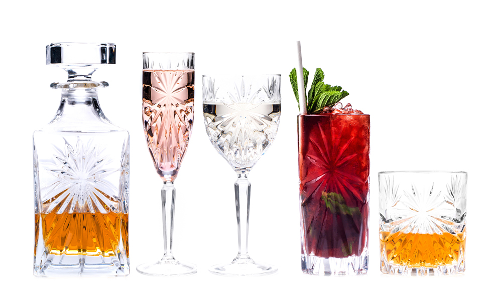 Oasis collection, Rcr oasis glassware, rcr glassware collection, RCR wine glasses and decanter