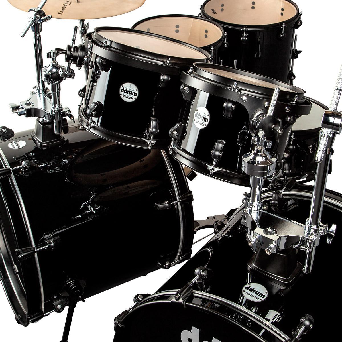 ddrum j2dd722 mb journey double bass 7 piece drum set black musical instruments. Black Bedroom Furniture Sets. Home Design Ideas