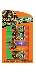 Gorilla Kids Disappearing Purple School Glue Sticks