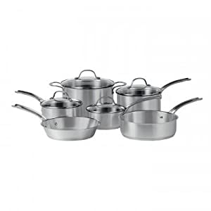 Maze Induction Cookware Brushed Stainless Steel with Glass Lids 10-Piece Set