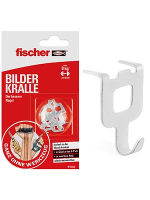 545953 Wandhaken als alternative f/ür den Nagel und die Schraube Einfach festdr/ücken anh/ängen fischer BILDER KRALLE wei/ß 8 St/ück fertig Art.-Nr