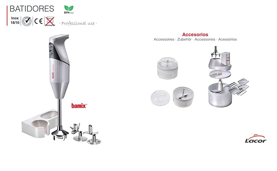 Lacor - 61672 - Batidor eléctrico Bamix 200w - Gris: Amazon.es: Hogar