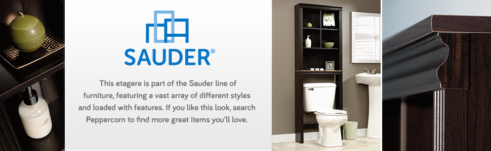 Sauder over the toilet storage racks