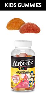 Airborne Assorted Fruit Kids Gummies Immune Support Vitamin C Zinc