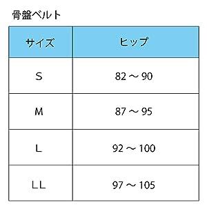 骨盤ベルトサイズ表