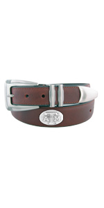 Mens brown leather college concho belt