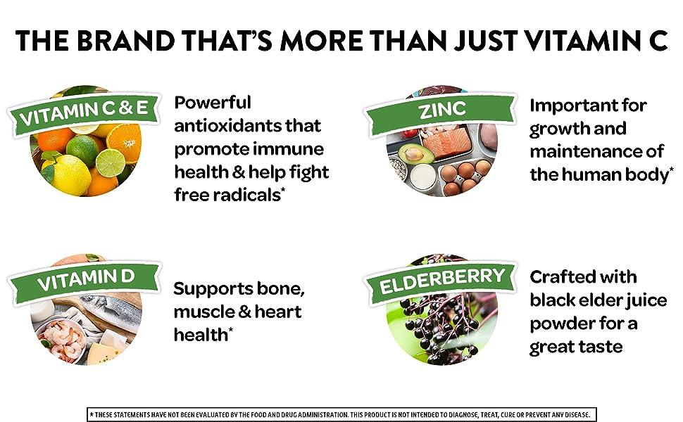 Airborne Elderberry Gummies Immune Support Vitamin C D E Zinc