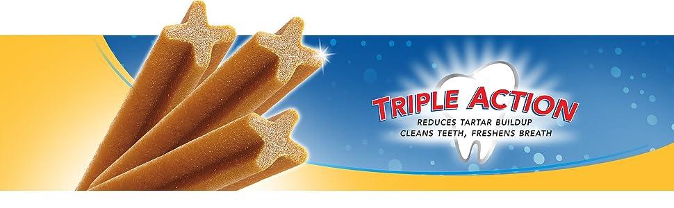 Reduces tartar buildup, Cleans teeth, Freshens Breath, Added benefit dental treats