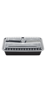 Karat 32 oz Black PP Microwavable Rectangular Food Containers amp; Lids