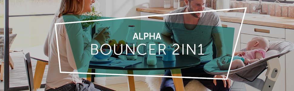 Alpha Plus Bouncer, Alpha Plus, Beta Plus, Hochstuhlaufsatz, Wippe, 2in1, Bear, grey, Baby, Newborn