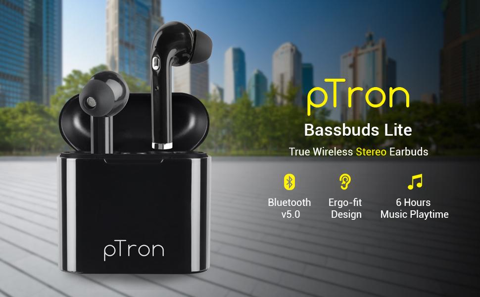 pTron Bassbuds Lite True Wireless Earbuds