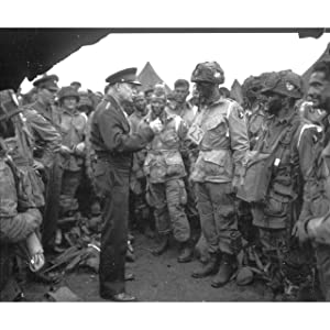 black and white photo of general dwight d eisenhower addressing the troops during world war 2
