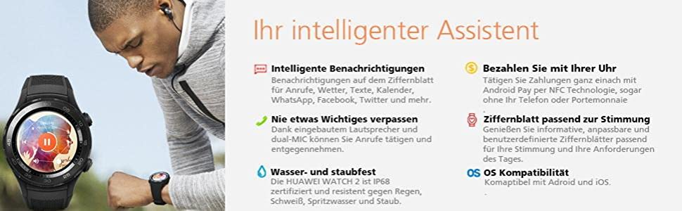 Assistent Benachrichtigungen dual-MIC wasserfest staubfest Pay per NFC Ziffernblatt Adroid iOS