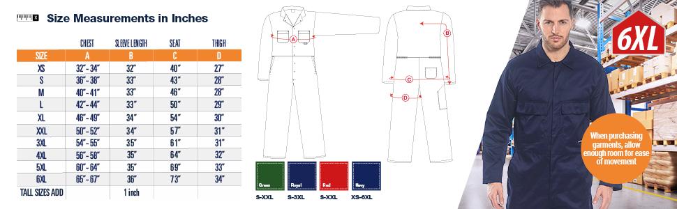 Portwest C802 boilersuit est/ándar color Botella talla 3 XL