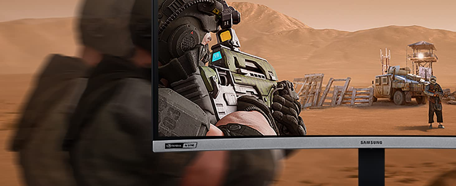 A player gaming at 240Hz Samsung CRG5 Mointor aiming the target