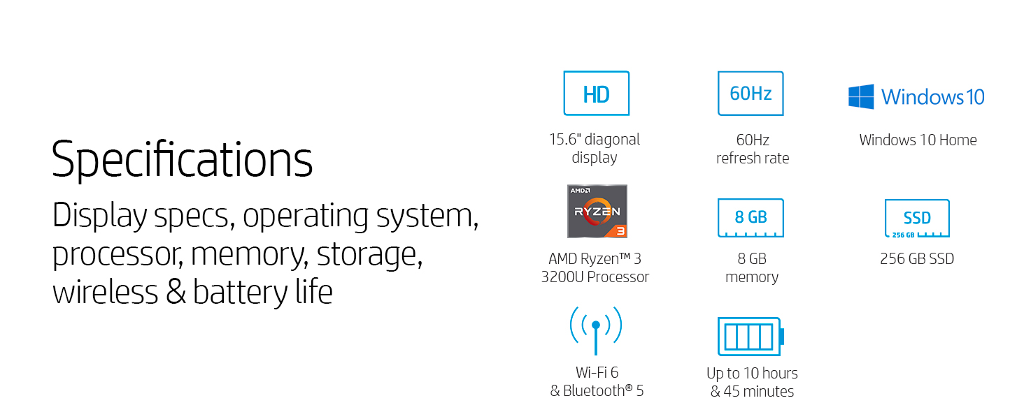amd athlon ryzen 3 mobile ram sdram ddr4 8 gb 256 pcle nvme m.2 ssd solid-state drive bluetooth 5