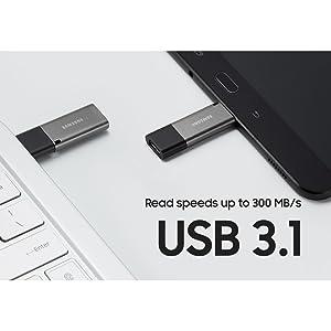 Blazing USB 3.1 read speeds up to 300 MB/s
