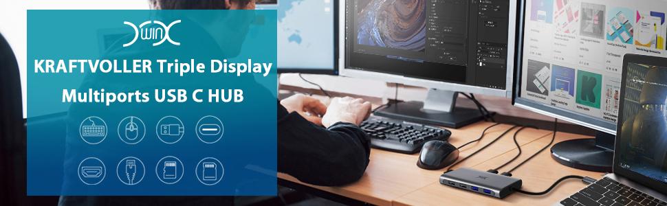 image keywords: YXwin Triple Display 12 Ports USB C Hub